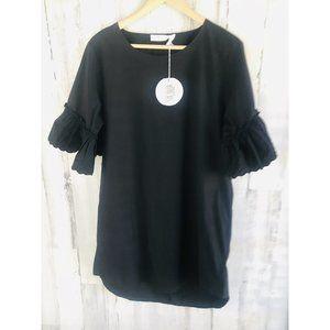 See by Chloe Ruffle Sleeve Shift Dress Black